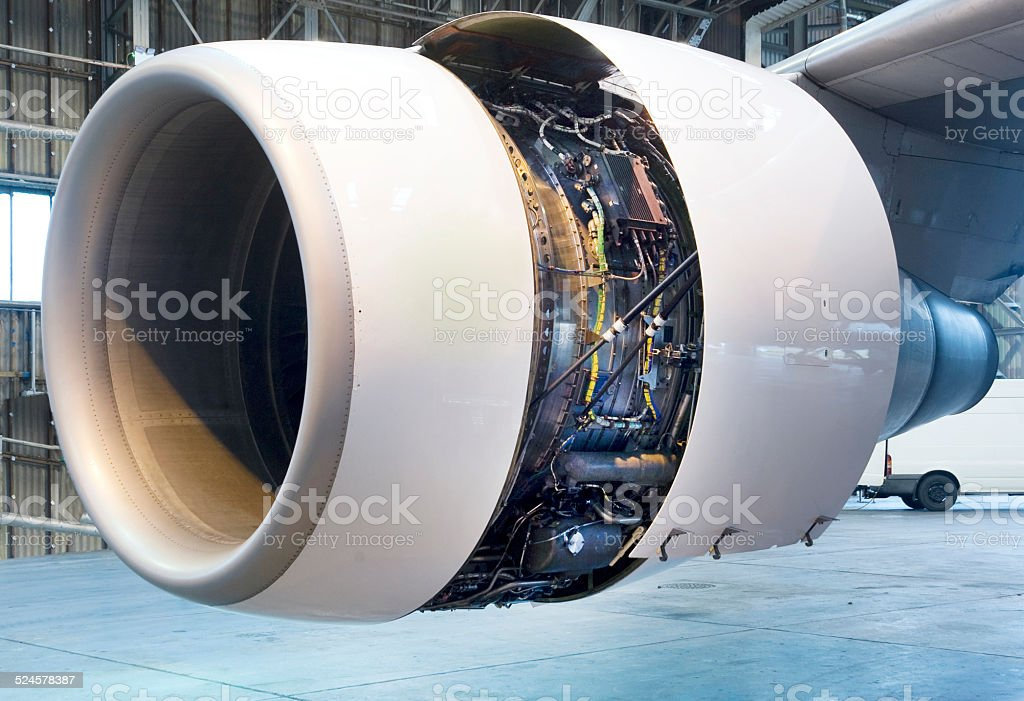 Jet engine close up stock photo