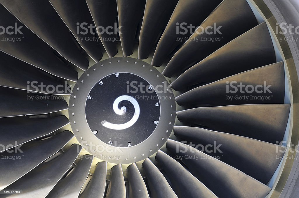 Jet engine detail of commercial airliner royalty-free stock photo
