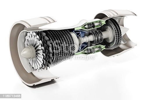 Detailed illustration of a generic jet engine