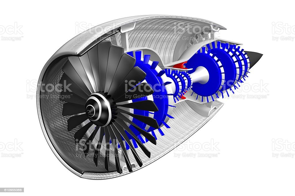 3D jet engine - front/ side view stock photo