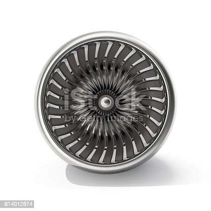 istock Jet engine front view isolated on white background. 3d rendering 614012874