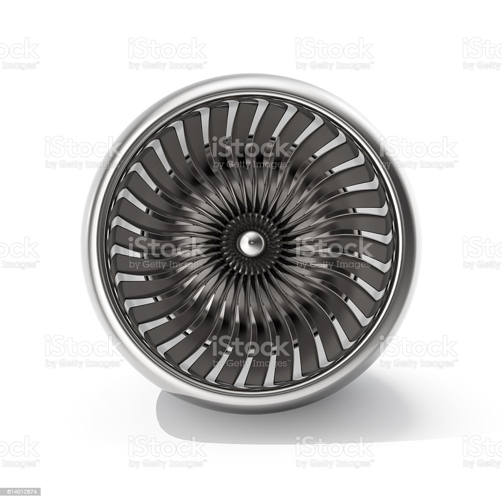 Jet engine front view isolated on white background. 3d rendering stock photo