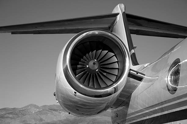 Jet Engine in Black and White stock photo