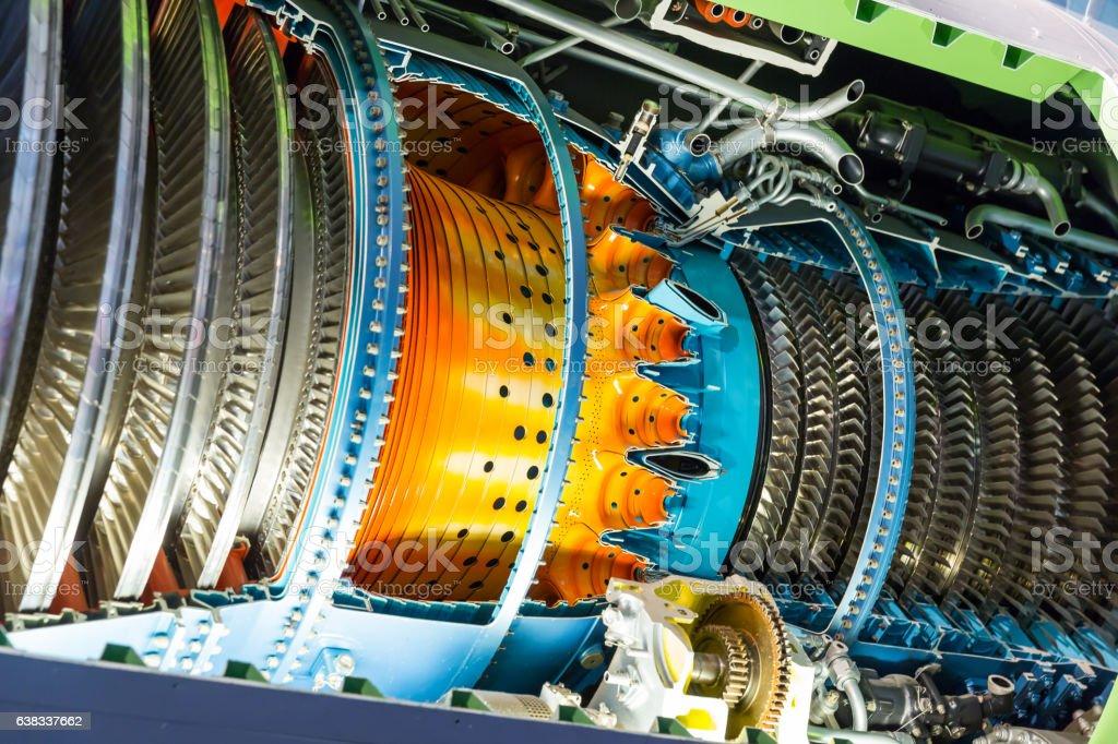Jet engine inside. stock photo