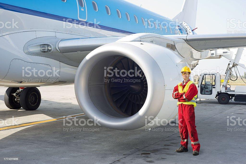 Jet engine mechanic stock photo
