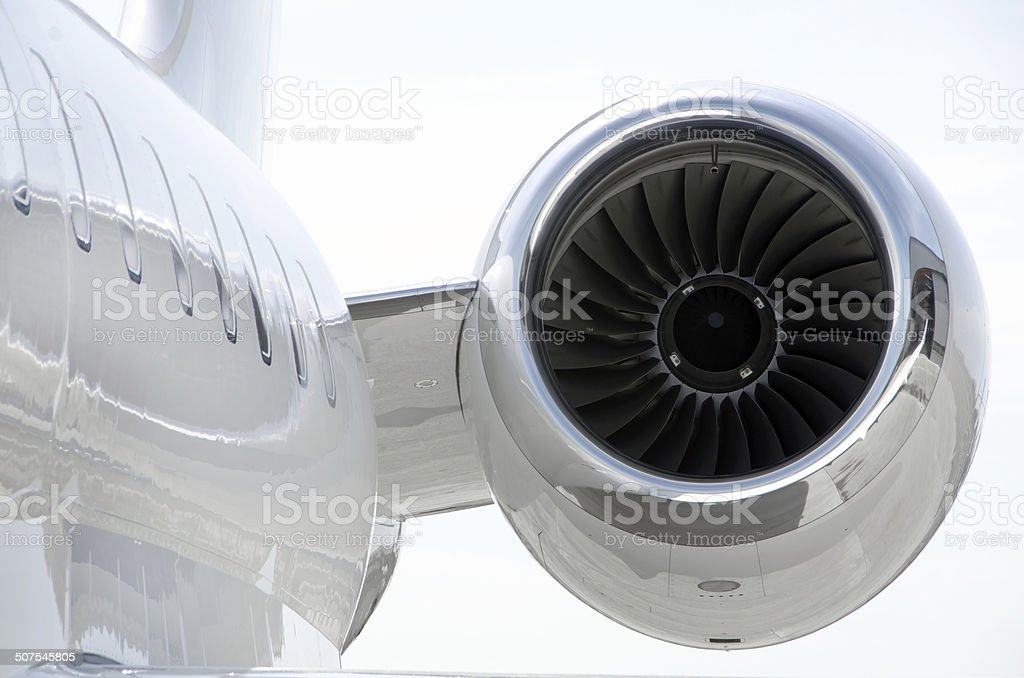 Jet Engine on a private aircraft - Bombardier stock photo