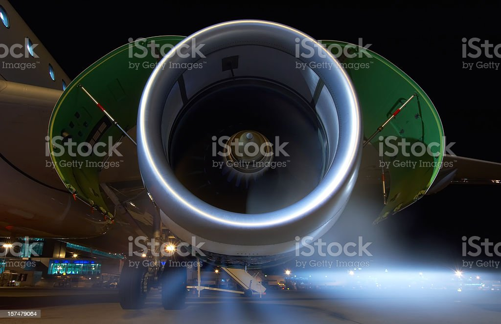 Jet engine on an Airbus A320 commercial airliner. stock photo