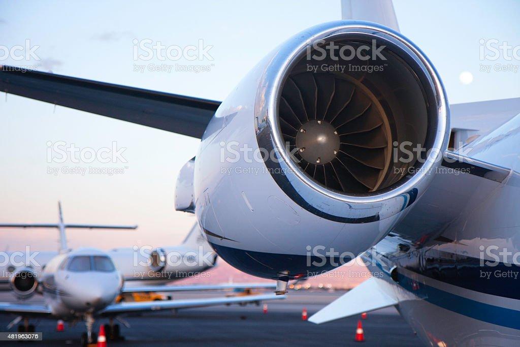 Jet Engine on Ramp stock photo