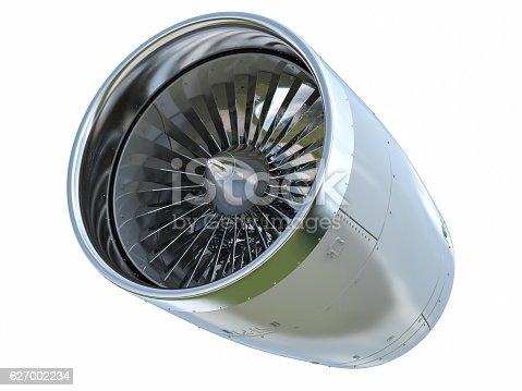 3d rendering jet engine on white background