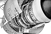 Jet engine open , black and white