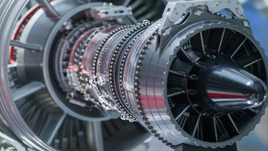 Jet Engine part of machine close-up,outdoors shot.