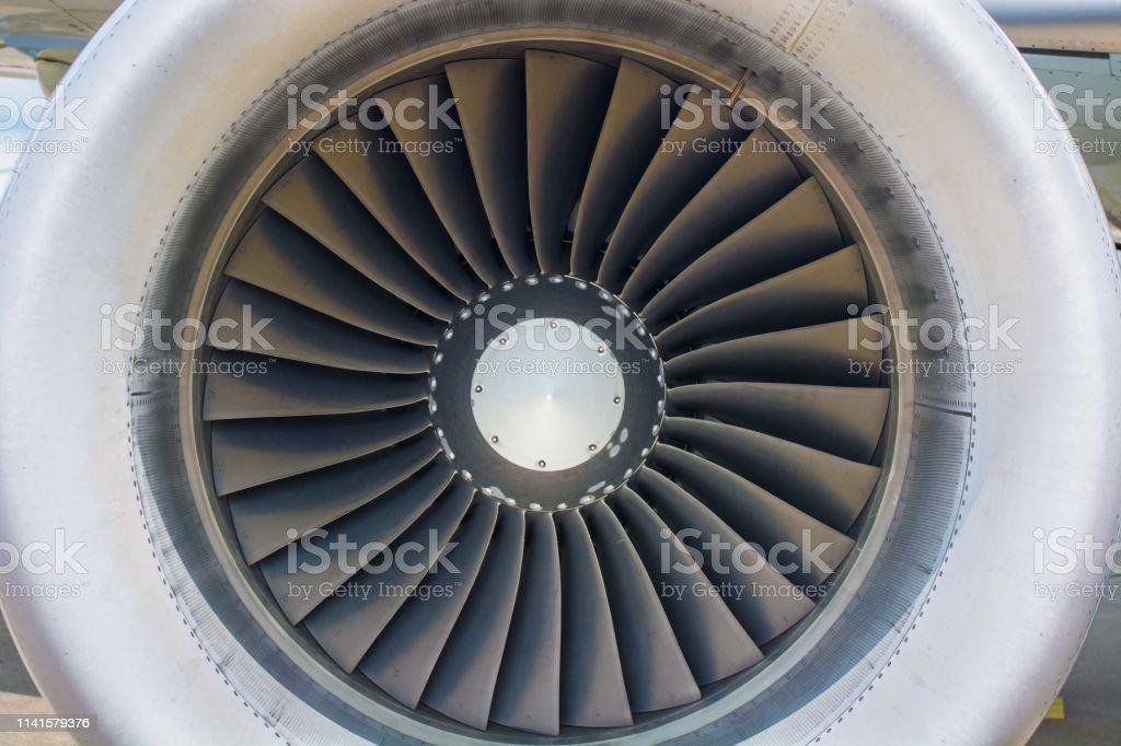A jet engine sits still stock photo