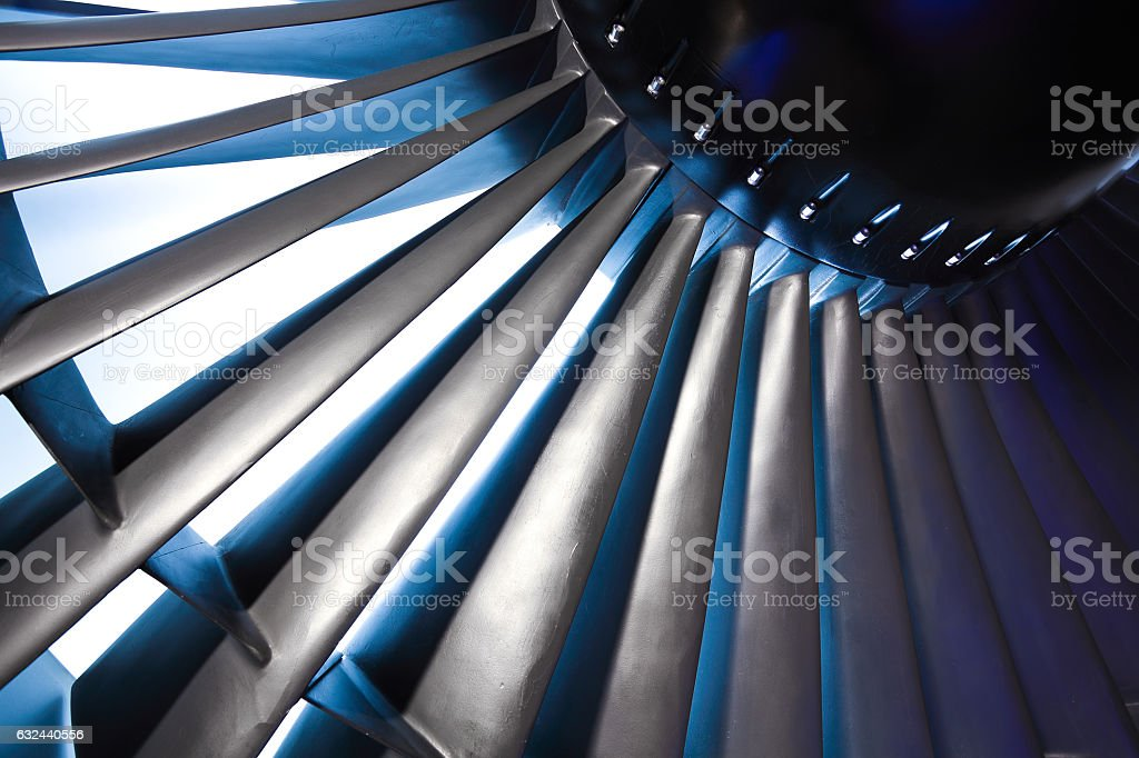 Jet engine turbine blade airplane of background stock photo