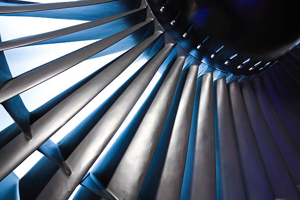 Jet engine turbine blade airplane of background Turbo-jet engine of the plane on close up turbine stock pictures, royalty-free photos & images
