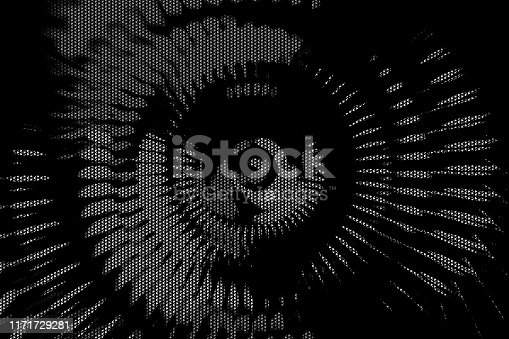 istock Jet Engine Turbine Blades Abstract Wind Tunnel Propeller Black Silver Half Tone Gray Scale Striped Background 1171729281