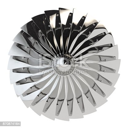 Jet engine, turbine blades of airplane, 3drender. Isolated on white