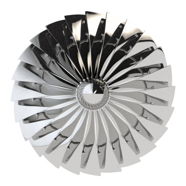 Jet engine, turbine blades of airplane, 3d render Jet engine, turbine blades of airplane, 3drender. Isolated on white turbine stock pictures, royalty-free photos & images