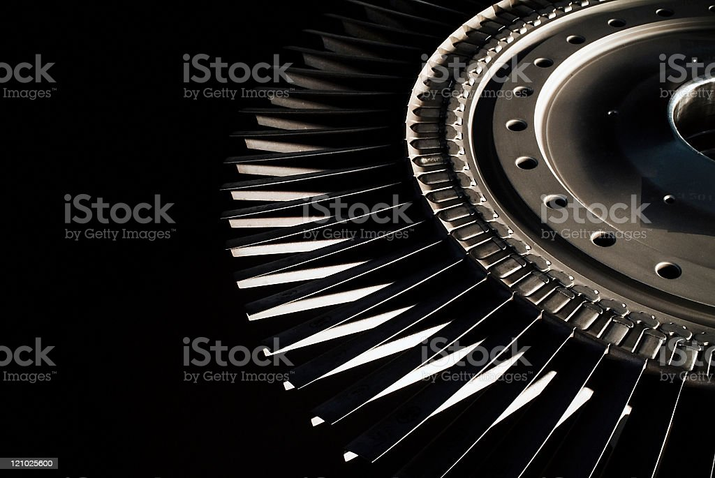 Jet engine turbine blades stock photo