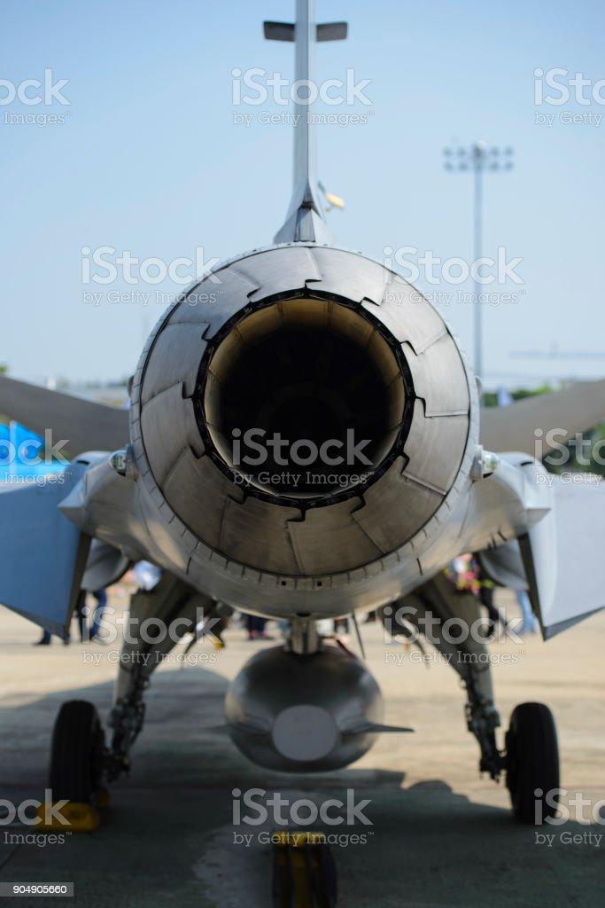 Jet engine turbines of military plane fighter stock photo