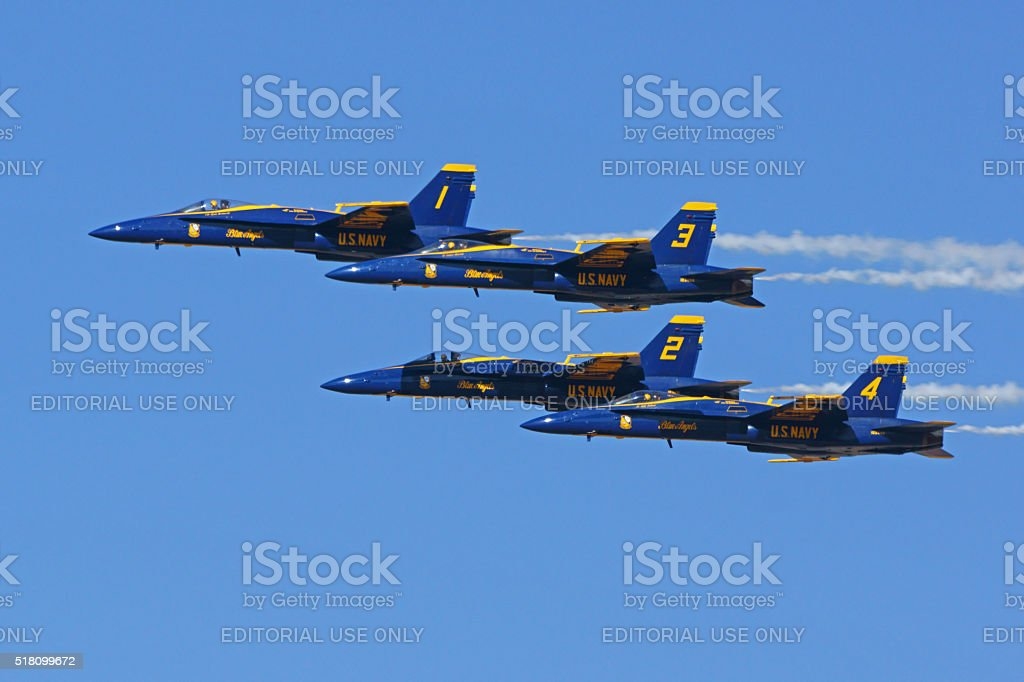 Jet F-18 Hornet fighters at air show stock photo