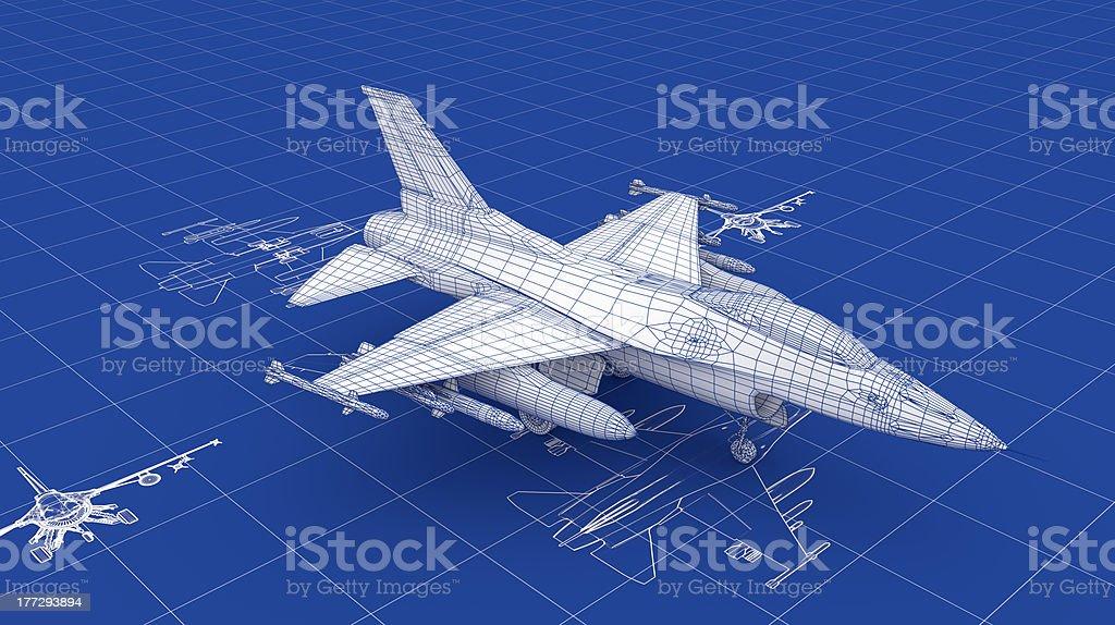 Jet Fighter Aircraft Blueprint stock photo
