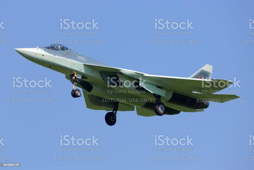 T-50 055 BLUE jet fighter landing at Zhukovsky aifield. stock photo