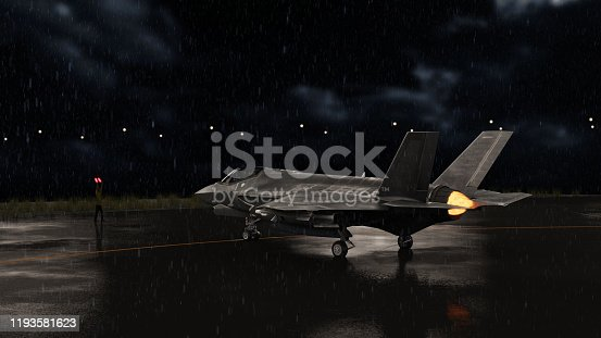 istock F-35 jet fighter moving to runway in military airbase 3d render 1193581623