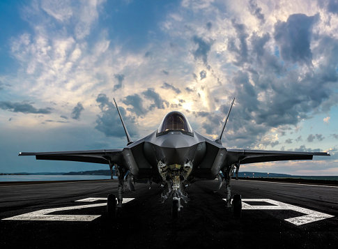 F-35 jet fighter on runway to take off