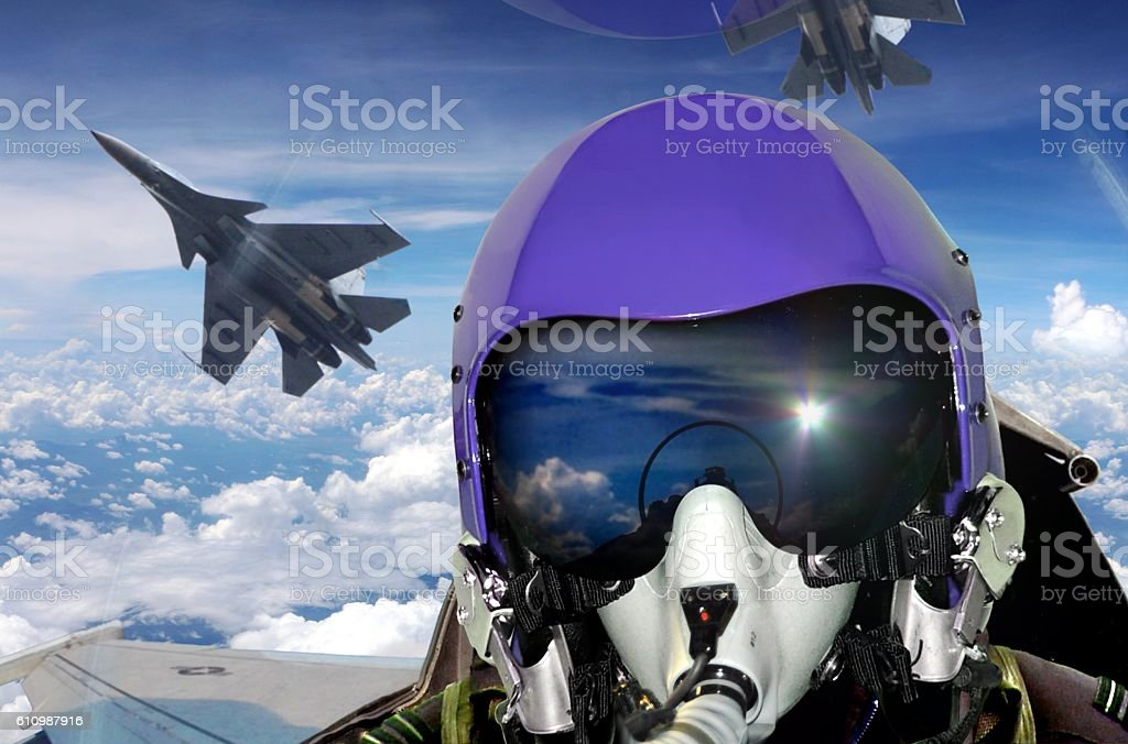 Jet fighter pilot cockpit view stock photo