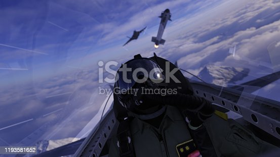 Jet fighter pilot lookin up a missile flying over in air combat scene 3d render