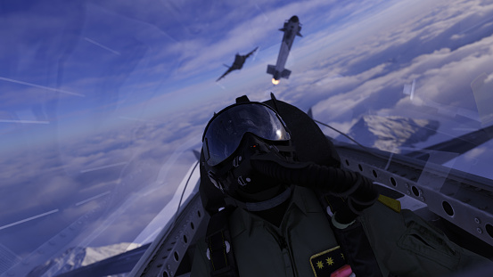 istock Jet fighter pilot lookin up a missile flying over in air combat scene 3d render 1193581652