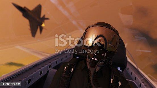 Jet fighter pilot  wearing oxygen mask flying together for mission in cockpit view 3d render