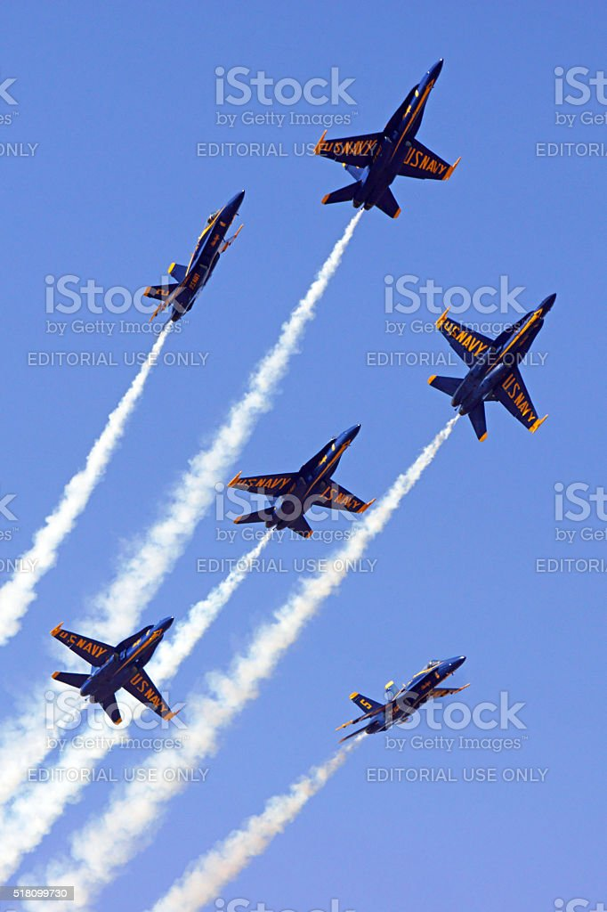 Jet fighters break formation at Blue Angels Airshow stock photo