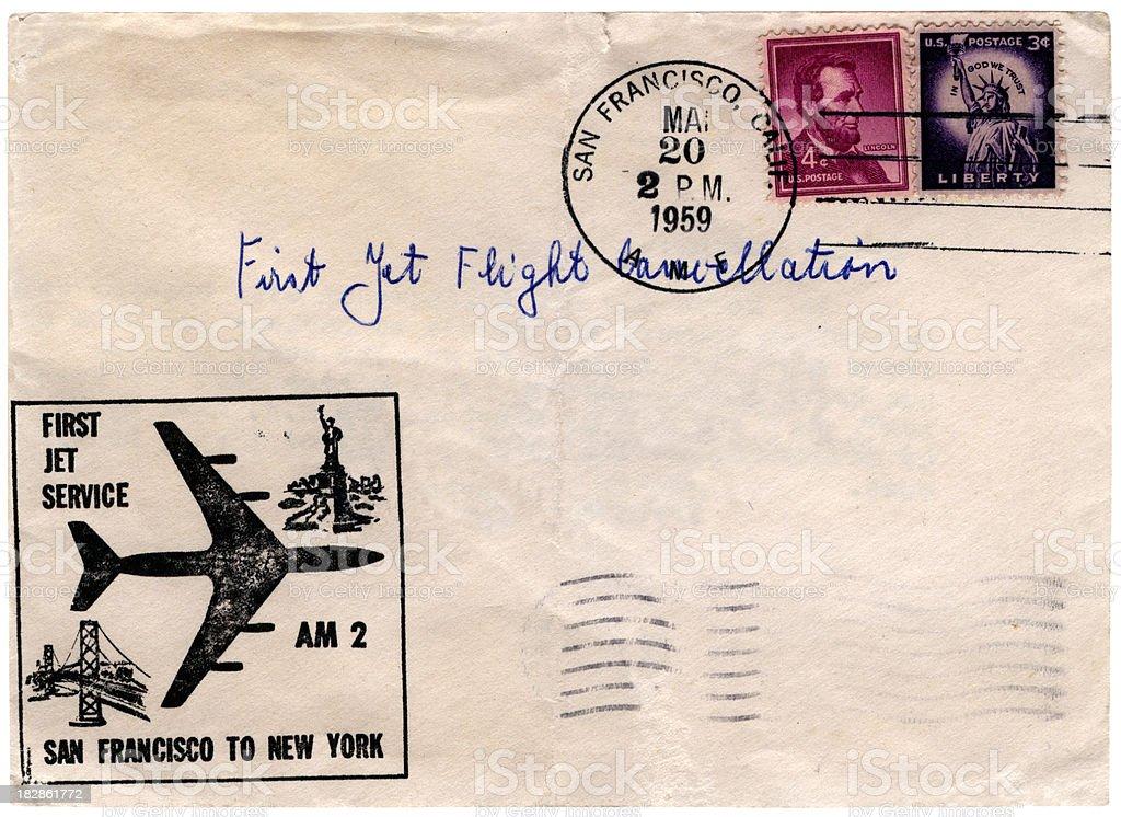 Jet flight cancellation USA 1959 royalty-free stock photo