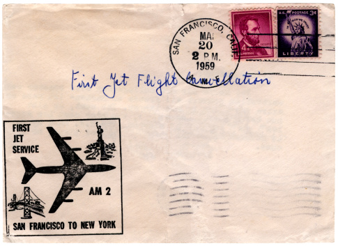 A 'first day cover' celebrating the first jet flight service from San Francisco to New York in 1959.More airmail from my portfolio: