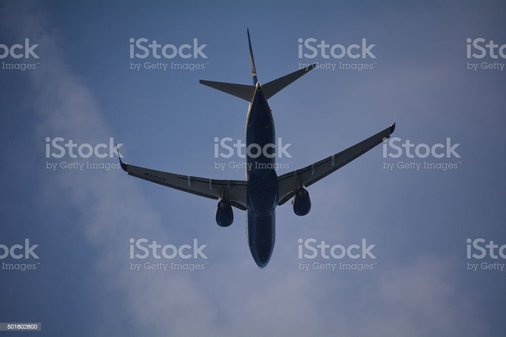 Jet flying overhead stock photo