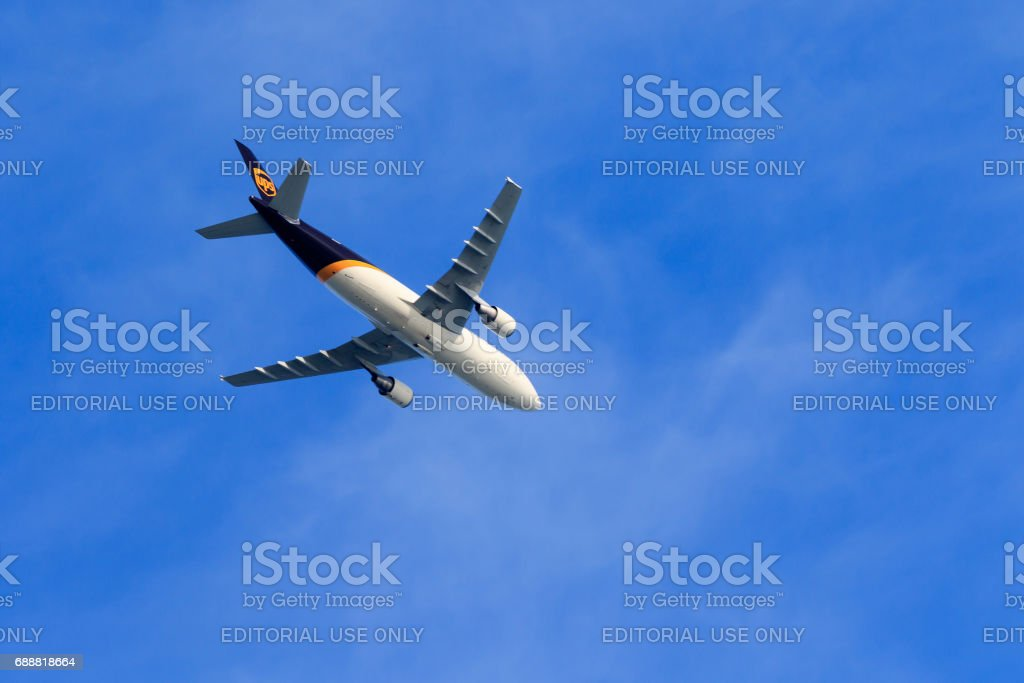 UPS Jet Flying stock photo