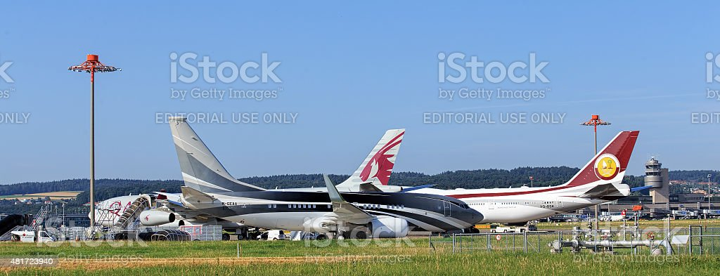 Jet in the Zurich Airport stock photo