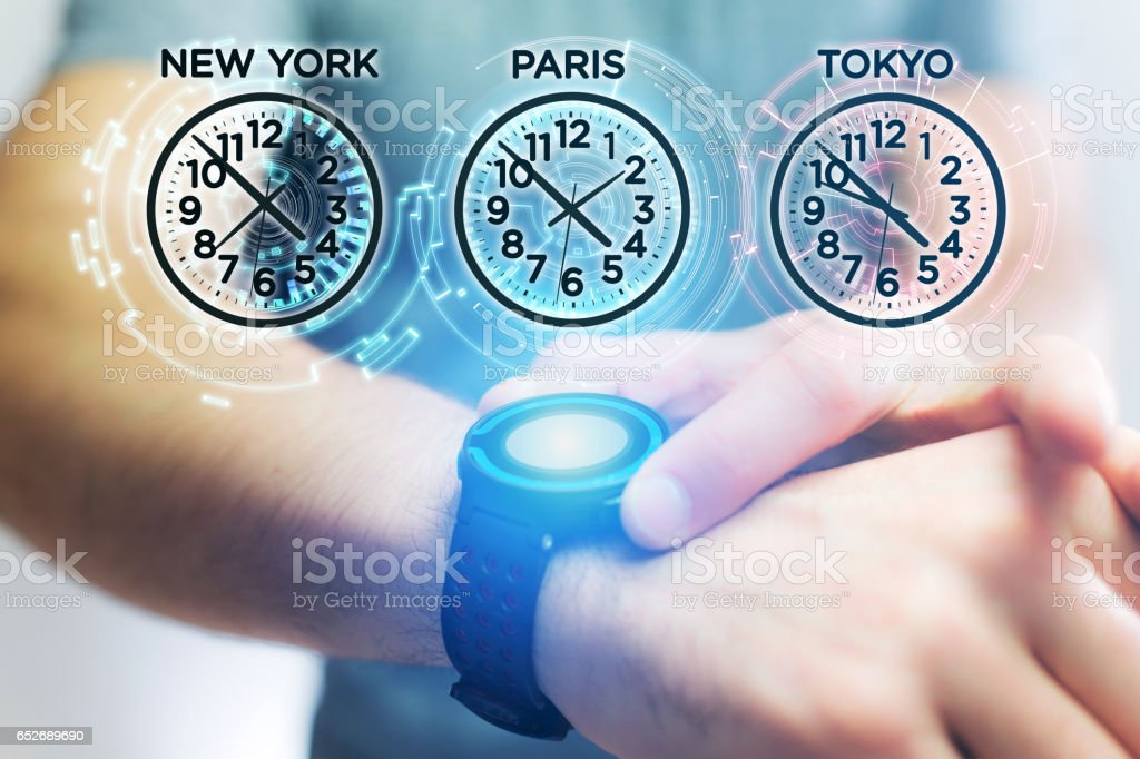 Jet lag concept with different hour time over a smartwatch stock photo