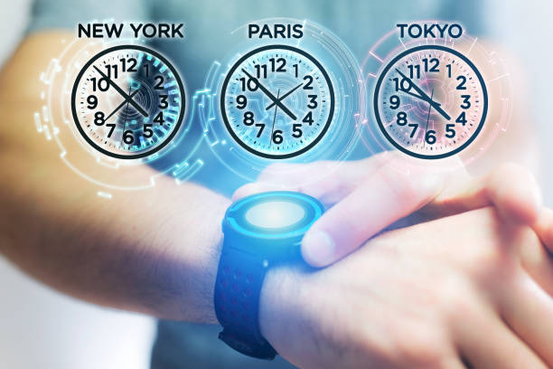 Jet lag concept with different hour time over a smartwatch Jet lag concept view with different hour time over a smartwatch jet lag stock pictures, royalty-free photos & images