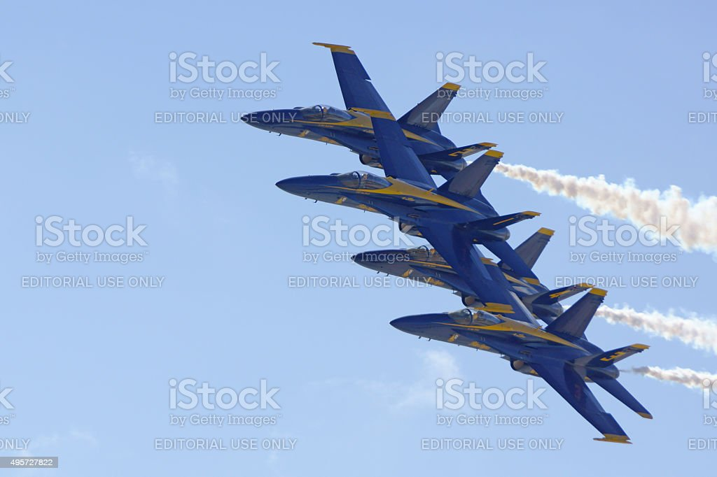 Jet Navy Blue Angles F-18 airplanes formation stock photo