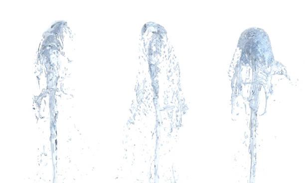 jet de jet d'eau vers le haut sur blanc fond 3d - fontaine photos et images de collection