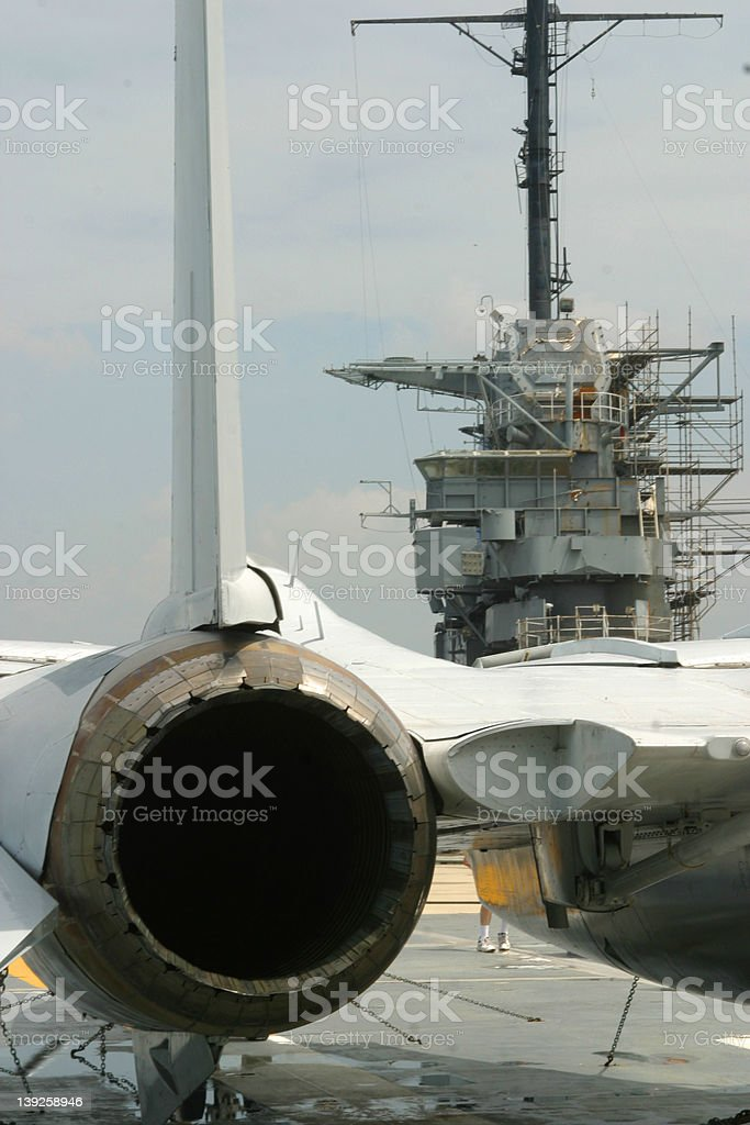 jet on aircraft carrier royalty-free stock photo