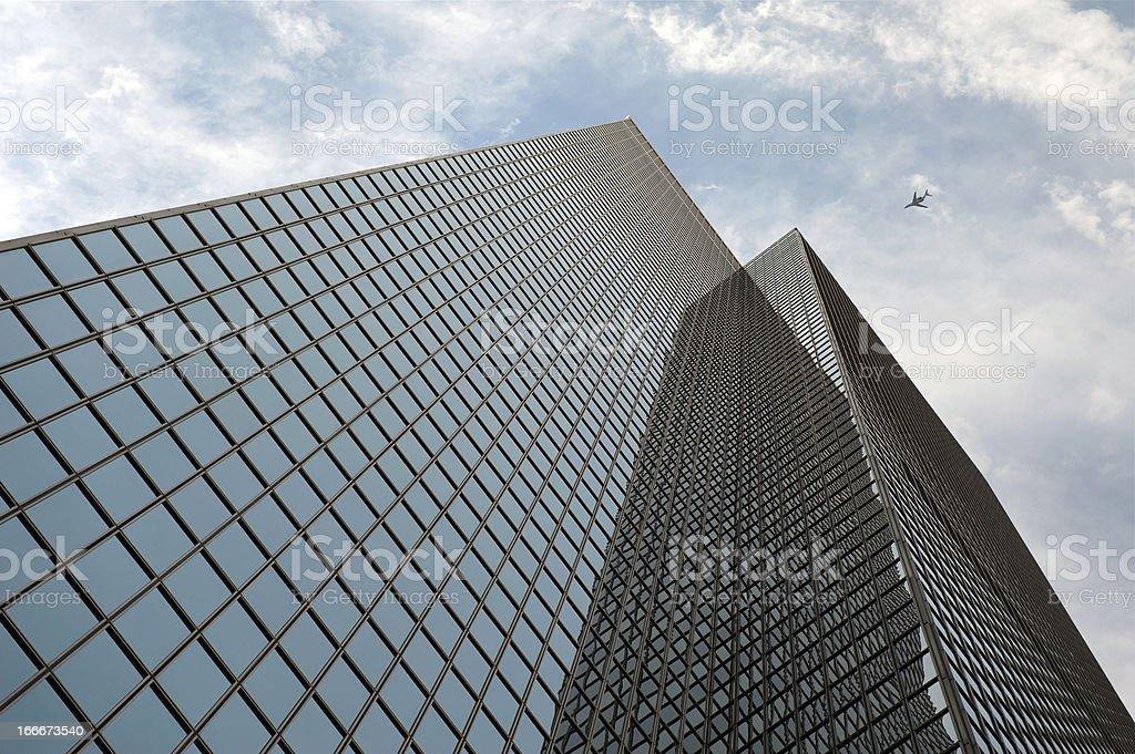 Jet over City royalty-free stock photo