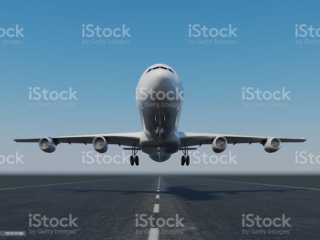 Jet A Jumbo jet taking off or landing. High resolution 3D render. Airplane Stock Photo
