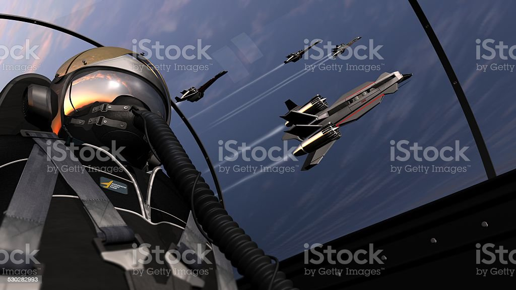 jet pilot flight with squadron stock photo