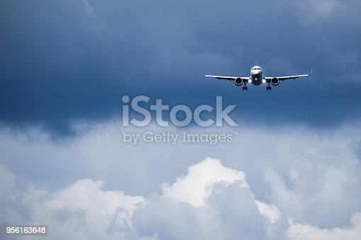 Jet plane / aircraft enters landing runway at a airport. Blank copy space for own text.