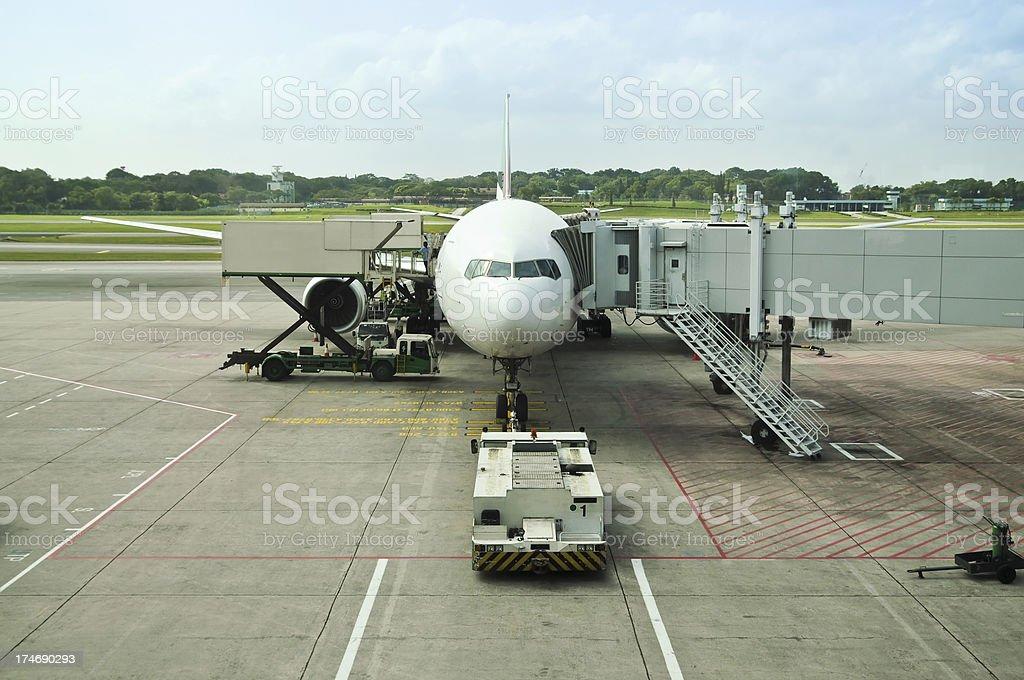 Jet Plane at Gate stock photo