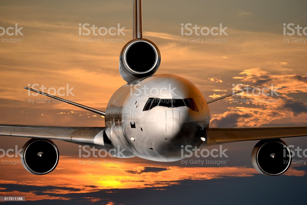 Jet plane flying stock photo