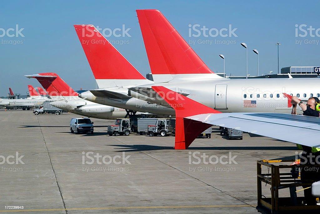 Jet Plane Tail Fins stock photo